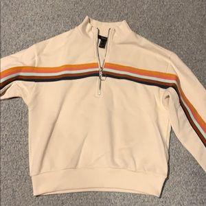Forever 21 crop vintage half zip pullover